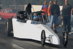 White 3 Seater Dragster from Race Tech on the Tract